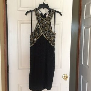 Totally Beaded Black and Gold Dress